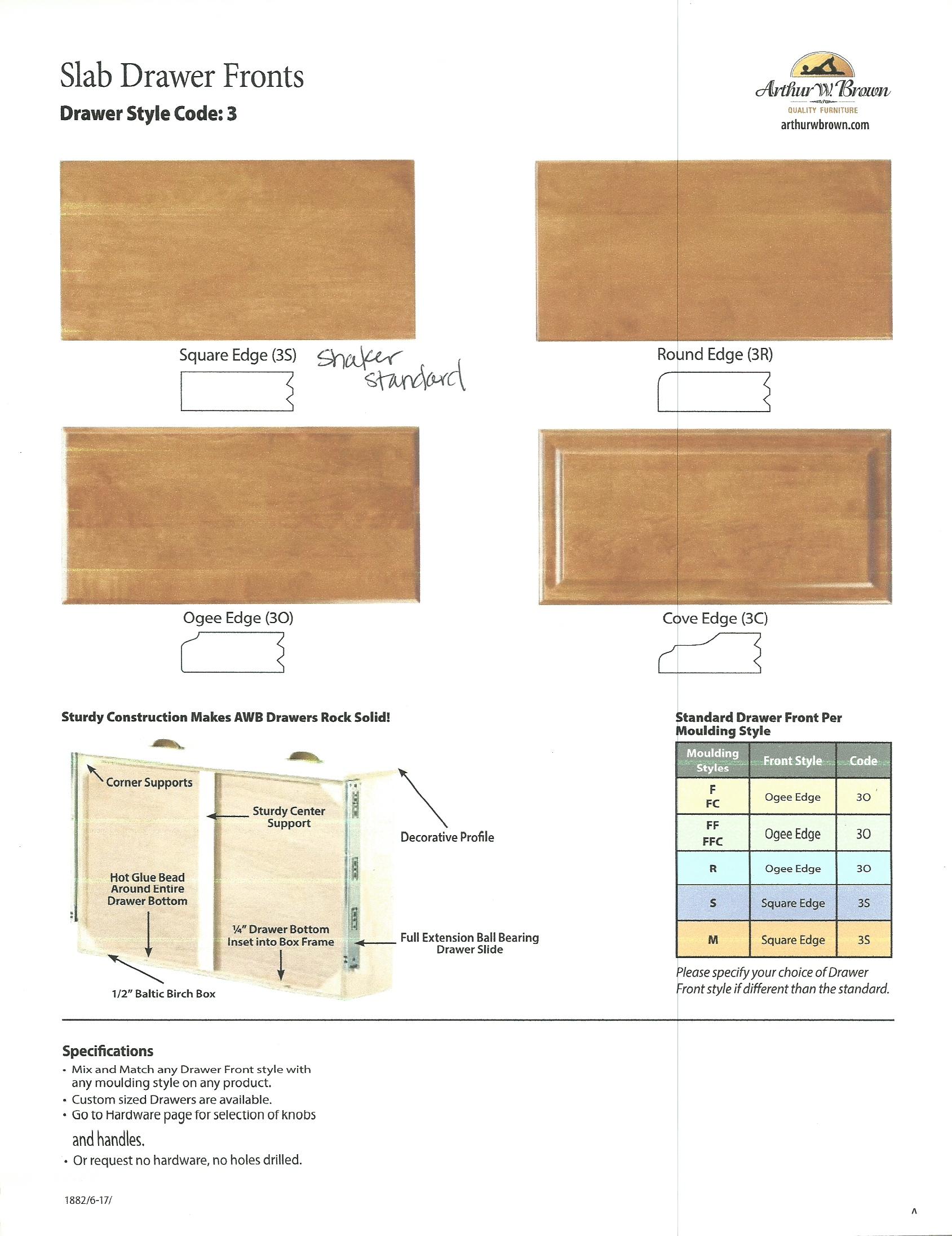 Slab Drawer Front Options