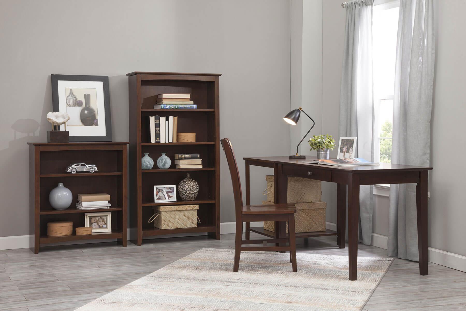 Custom Finished Whitewood Bookcase Example